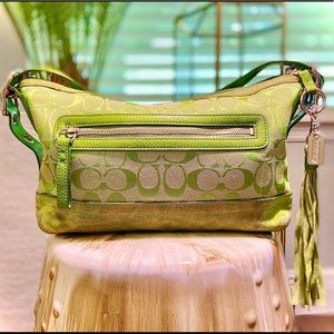 Bright Green Suede and Signature Fabric Coach Bag